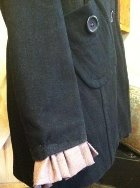 dELiA*s Wool Blend Purple Button And Sleeve. Polyester Lining Warm Winter Or Spring Jacket Pea Coat