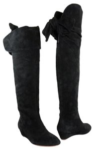Elie Tahari Wedge Suede Black Boots