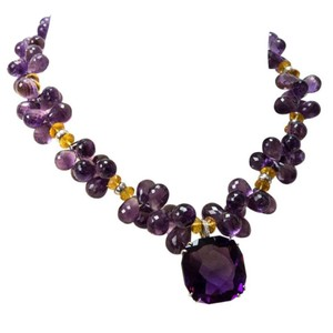 Amethyst Citrine Diamond Gold Necklace