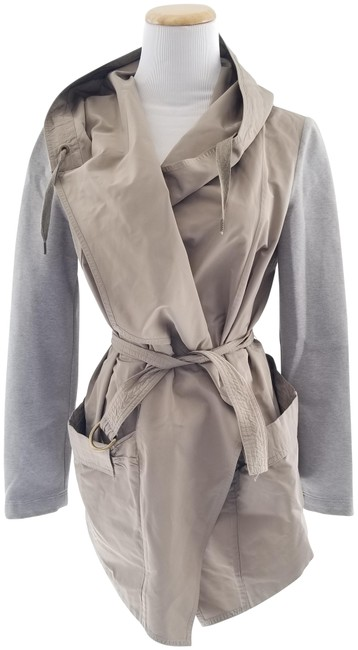 Item - Beige and Grey Single Breasted Belted Jacket Size 4 (S)