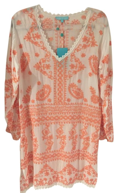 Item - White and Peach Embroidered Natalie Kaftan Cover-up/Sarong Size 6 (S)