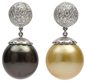 Large South Sea Golden and Tahitian Pearl Diamond Gold Earrings