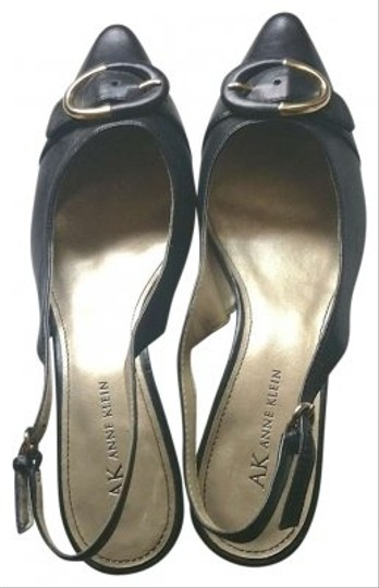 Preload https://img-static.tradesy.com/item/153241/ak-anne-klein-black-with-black-and-gold-buckle-ak-maflashy-leather-kitten-heel-strap-at-ankle-muless-0-0-540-540.jpg