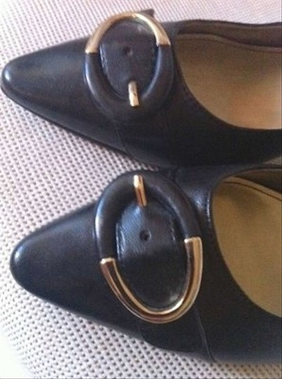 AK Anne Klein Black with Black and Gold Buckle Mules