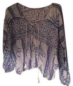 Free People Top Blue & white print