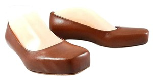 Jil Sander Ballet Leather Square Toe Pump Brown Flats