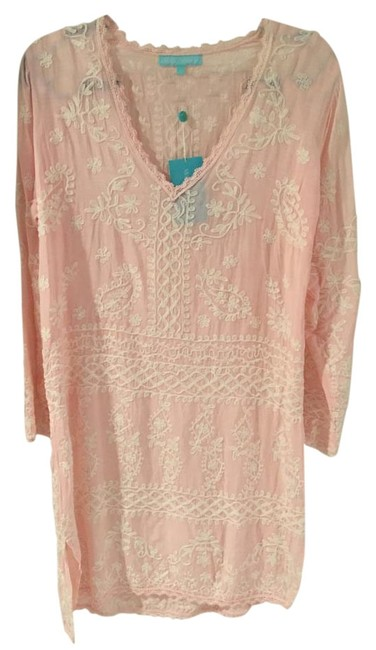 Item - Pastel Pink/ White Embroidered Natalie Kaftan Cover-up/Sarong Size 6 (S)