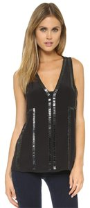 Ramy Brook Beaded Embellished Basic Night Out Date Night Top Black