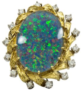 Opal Diamond Gold Platinum Ring