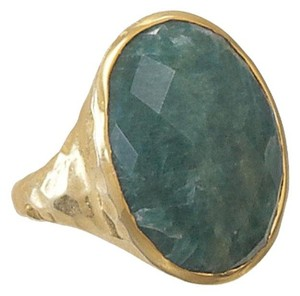 Other Hammered 14 Karat Gold Plated Rough-Cut Emerald Ring