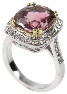 6.40 Carat Cushion Cut Madagascar Tourmaline Diamond Gold Ring