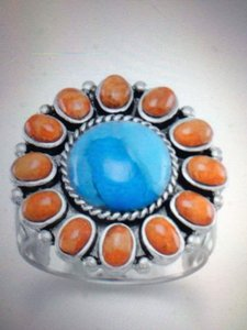 (New) Reconstituted Turquoise and Coral Sunburst Ring