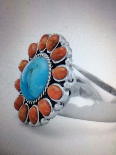 Other (New) Reconstituted Turquoise and Coral Sunburst Ring