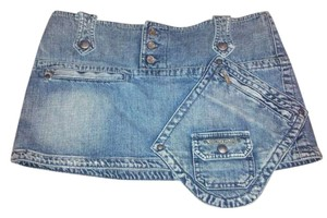 Diesel With Cool Pocket And Zipper Details Size 28 Mini Skirt Medium Blue Denim