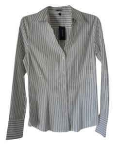 Express Button Down Button Down Shirt NEW White and Blue Striped