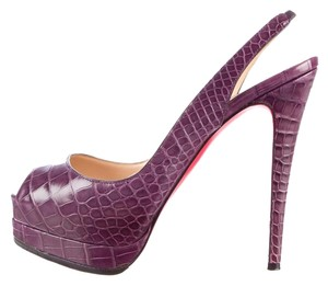 Christian Louboutin Crocodile Slingback Hyper Prive Purple Pumps