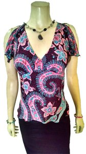 Betsey Johnson P991 Small Petite Size Dress Dress Floral Top black, pink, blue