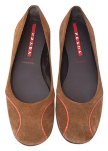 Prada Suede Stitch Brown Flats