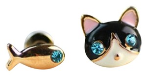 Adorable Little Cat and Fish Cloisonne Earrings