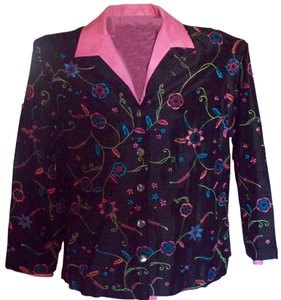 Laura Ashley Classy Dressy Casual Multi-color Button Down Shirt Black/Multi