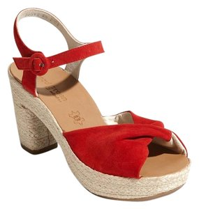 Paul Green Platform Suede Red Sandals