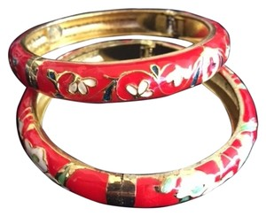 Beautiful Red & White Painted Flower Bangles