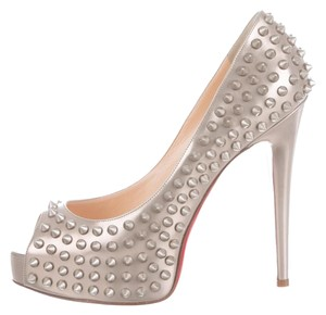 Christian Louboutin Lady Peep Spiked Studded Silver Pumps