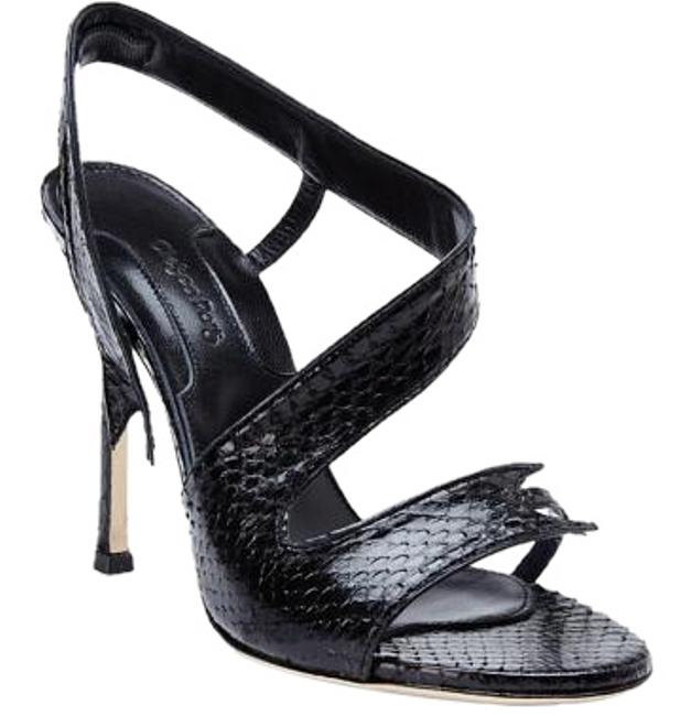 Item - Black New Made In Italy Genuine Snakeskin Leather Sandals Size US 10