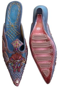 Escada Beaded Embellished Blue Mules