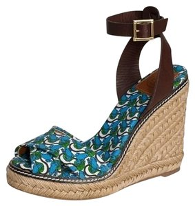 Tory Burch Platform Blue Sandals