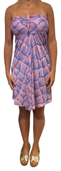 Item - Pink and Blue Short Summer Dress Cover-up/Sarong Size 4 (S)