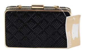 Michael Kors Mk Patent Leather Quilted Snake Print Black Clutch
