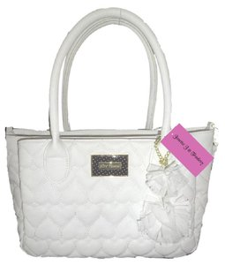 Betsey Johnson Quilted Hearts Fabric Pom Poms Satchel/Xbody Satchel in white