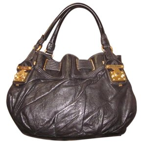 Juicy Couture Padlock Leather Slouch Tote in Black + Gold