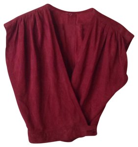 Suede Sleeveless Top Maroon