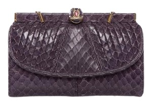 Judith Leiber Purple Snakeskin Clasp Wallet with Coinpouch
