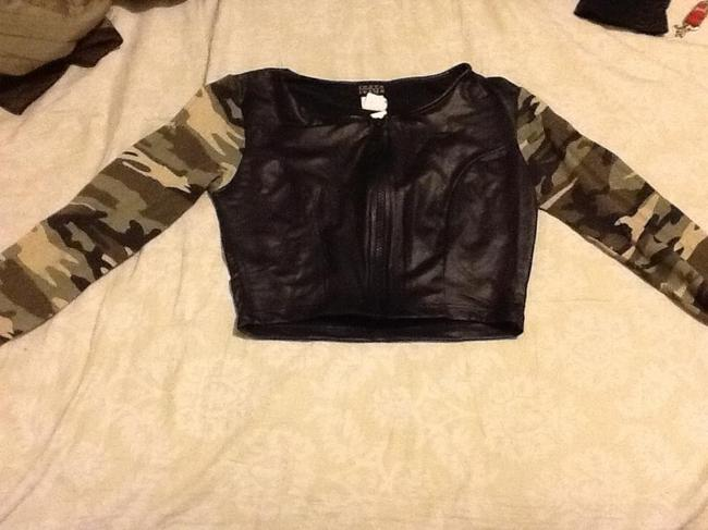Joyce Leslie Top Black faux leather body and military sleeve