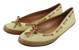 Chanel Boat Leather Yellow Flats