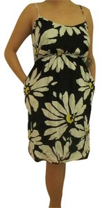 Old Navy short dress White Black Yellow Floral Pockets on Tradesy