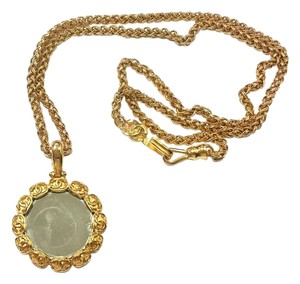 Chanel Chanel Vintage 24K Gold Plated CC Round Mirror Large Pendant Necklace