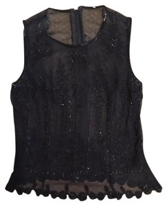 Pookie and Sebastian Beaded Embroidery Sheer Top Black