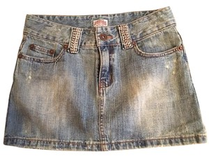 Other Denim Rhinestone Detail Small Mini Skirt Blue Denim