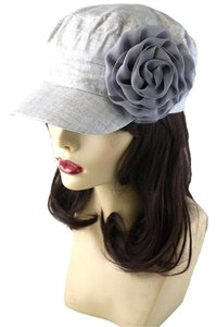 Gray Textured Flower Accent Fashion Statement Cap