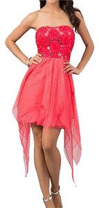 Speechless Sequin Sparkle Hi Low Pink Party Holiday Prom Strapless Flirty Flower Dress