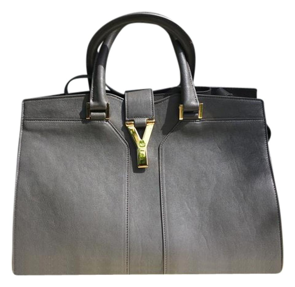 214dceb978ad Saint Laurent ChYc Petit Cabas Y Line Grey Leather Satchel - Tradesy