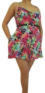 insight short dress Multi Pink Red Green Blue Purple Yellow Cutout Floral Summer Spring on Tradesy