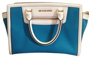 Michael Kors Selma Colorblock Blue Satchel in Canvas Blue