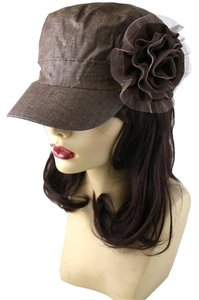 Other Brown Textured Flower Accent Fashion Statement Cap