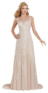 Alfred Angelo Pink Champagne 8530 Short Train Feminine Bridesmaid/Mob Dress Size 12 (L)