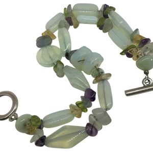 J. Jill Opalescent Bead Bracelet with Purple Topaz Aquamarine Chips